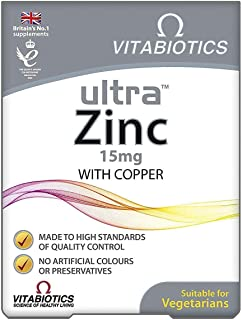 Vitabiotics Ultra Zinc,15 mg with copper for normal function of the immune system & Hair, skin and nails - 60 Tablets