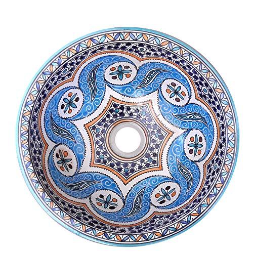 L'ORIENT Interior Waschbecken | Welle | Bunt | Ø:35cm | handbemaltes marokkanisches Waschbecken aus der Königsstadt FES