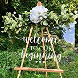 BATTOO Wedding Welcome Sign Decal Welcome to Our Beginning Couples Wedding Reception Home Adhesive Sticker - Marriage Wedlock of Love Wedding Ceremony Decal 20' Wide by 11' Tall, White