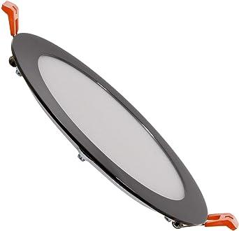 LEDKIA LIGHTING LED-Deckeneinbauleuchte Rund SuperSlim 12W Schwarze Ausschnitt /Ø 155mm Kaltes Wei/ß 6000K 6500K