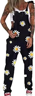 Women's Dungarees Daisy Printing Overalls Womens Loose Fit Baggy Comfy Jumpsuit Casual Rompers