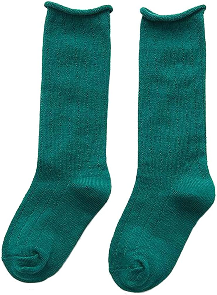 Ewanda store 1 Pair Rolled Edge Cotton Socks School Team Socks for 1-3 Years Old Kids Girls Boys Toddlers