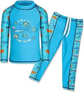 Kids Boys Swimsuit UPF 50+ UV Sun Protective 2PCS Swimwear Short/Long Sleeve