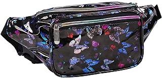 Holographic Fanny Pack Metallic 80s Waist Pack for Women and Men-Adjustable Running Belt Travel Hologram Purse Bag