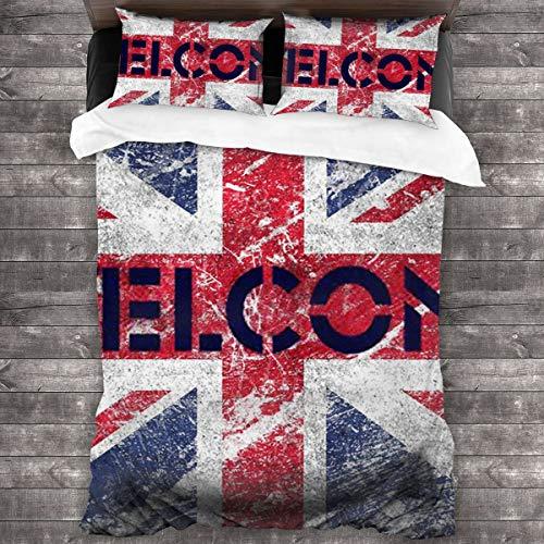 3 Piezas Juego Funda De Diseño Personalizado,Gran Bretaña,Bandera Nacional de Inglaterra,Ropa de Cama Set 1 Edredón 2 Fundas de Almohada Microfibra jueg(200 * 200cm)
