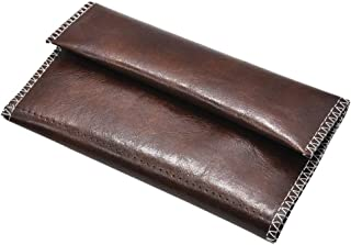 TOPBATHY PU Leather Tobacco Pouch Bag Triple-fold Waterproof Cigarette Bags Smoking Pouch for Shopping Dating (Brown)