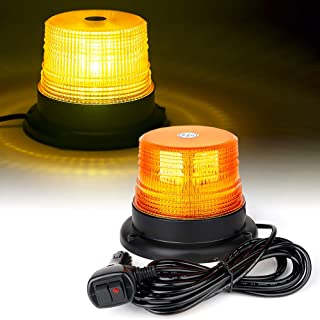 Xprite LED Warning Beacon Strobe Light Amber Rooftop Safety Flashing Lights with Magnetic Base 16 ft Straight Cord for Vehicle Forklift Truck Tractor Golf Carts UTV Car Bus