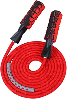 APICCRED Professional Double Ball Bearing Jump Rope Weighted Cotton Rope Adjustable Length,for Cardio, Endurance Training, Fitness Workouts, Jumping Exercise