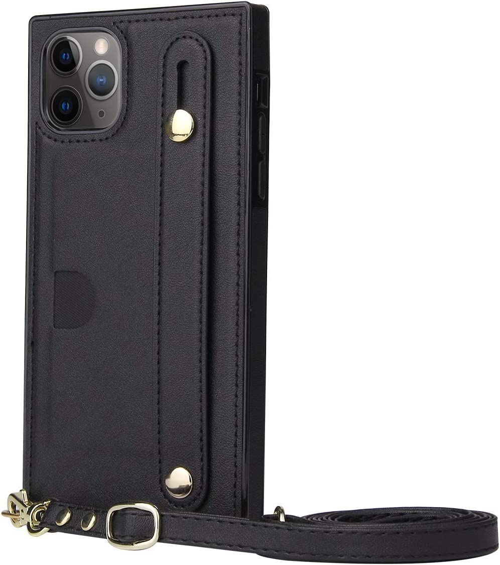 SLDiann Case for iPhone 11 Pro Max, Leather Case with Credit Card Slot Non-Slip Buckle Holder/Crossbody Long Lanyard, Shockproof Leather TPU Case Cover for iPhone 11 Pro Max (Color : Black)