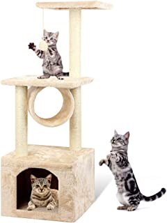 42in Deluxe Multi-Level Cat Tree and Climbing Tower with Sisal Scratching Posts   Cat Furniture Activity Tree Condo for Kittens w/Play House   Plush Perches   Tunnel and Mouse Toy   Fixing Strap