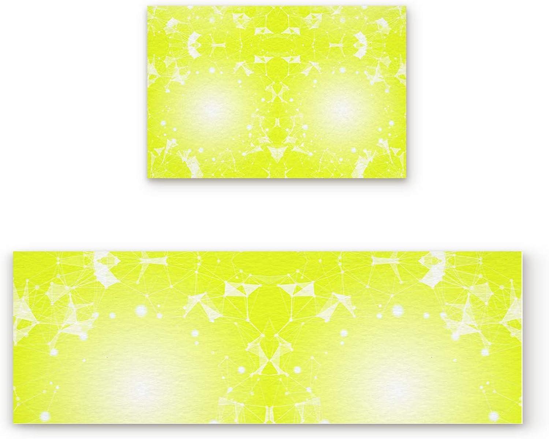 Aomike 2 Piece Non-Slip Kitchen Mat Rubber Backing Doormat Cool Yellow 3D Model Runner Rug Set, Hallway Living Room Balcony Bathroom Carpet Sets (19.7  x 31.5 +19.7  x 63 )