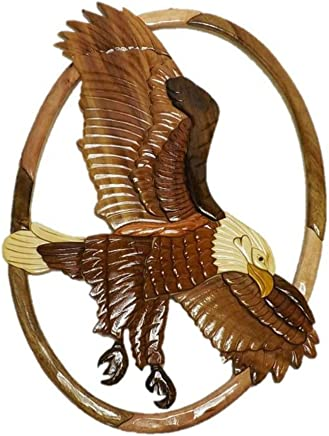5696736c1 Handmade Art Intarsia Wooden Wall Plaque - Flying Eagle(019)