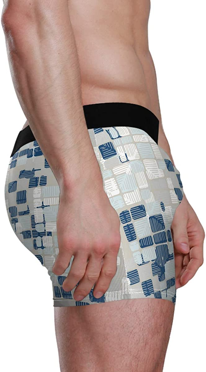 Men's Boxer Briefs Blue and White Plaid Pattern Bikini Underwear Stretch Trunks Boys Underpants