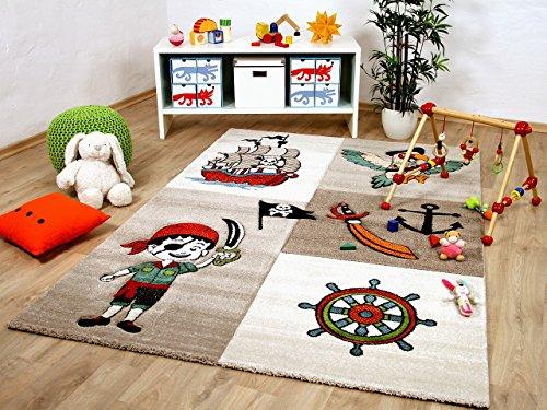 Savona Kinder und Spiel Teppich Kids Lustiger Pirat Beige Bunt in 5 Größen