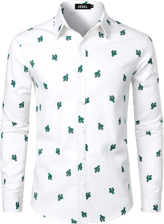 JOGAL Men's Novelty Print Premium Cotton Long Sleeve Casual Button Down Shirts