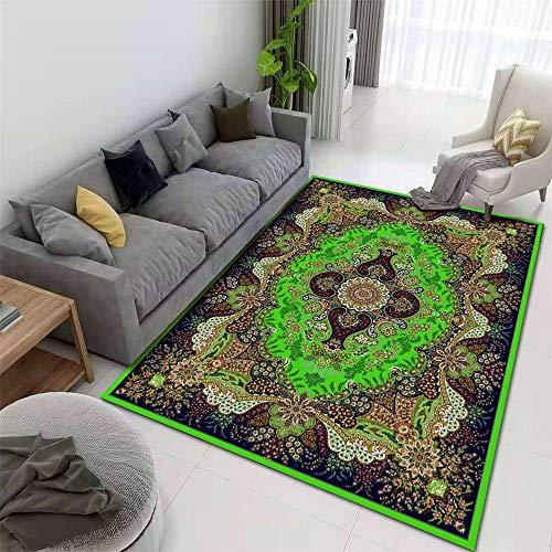 La Alfombra Limpiar alfombras Alfombra de Estilo Europeo con Estampado Floral Retro Verde marrón Gris alfombras Dormitorio Alfombra habitacion Juvenil 140*200cm