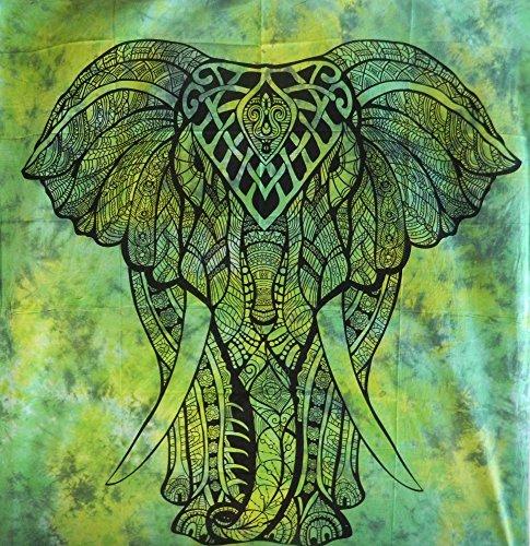Tagesdecke afrikanischer Elefant grün Tie Dye Style Baumwolle Wandbehang Überwurf
