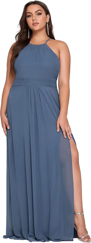 Ever-Pretty Women's Plus Size Side Slit Halter Sleeveless A Line Maxi Formal Party Dress 50002-PZ