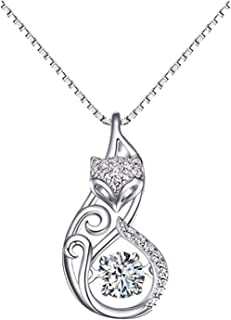 NC56 Collection Fox Dancing Stone Sterling Silver Pendant Necklace Water Waves Chain