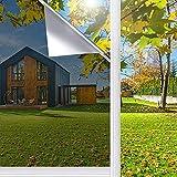 Spiegelfolie Selbstklebend für Fenster Sonnenschutzfolie Fenster für Wärmeisolierung Anti-UV für Fenster Außen und Innen Büro und Haus, Silber (Silber, 40*200cm)