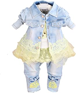 Jeans Strap Skirt Outfits Clothing Set 2-6 Years ARAUS Baby Girl Denim Dress Overall Kids Long Sleeve Shirt