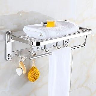 YF-SURINA Porte-serviettes chromé Rails en acier inoxydable, barres de serviette de salle de bain fixées au mur, étagère d...