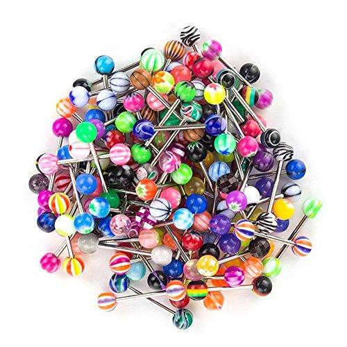 Shinestyle - Piercing per lingua, 14 g, diversi colori e motivi disponibili, 100 pezzi