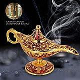 Diyeeni Lámpara mágica lámpara Retro Genial Magic Genie Light, Escultura de Alivio de Lujo, decoración del hogar, Aceite de Regalo, Botella de Aceite(Rojo)