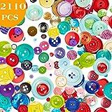 2110 PCS Assorted Bulk Buttons Mixed Colors Size...