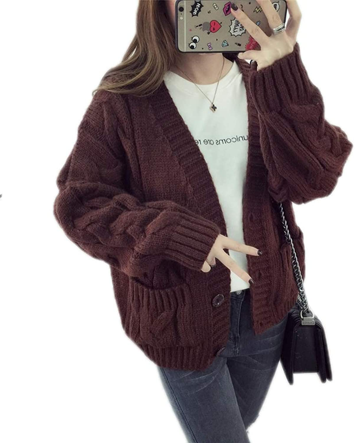 BCVHGD Women Sweater Cardigans Knitted Coat Casual Sweater Poncho V Neck Button Up Warm Jacket Female Outerwear