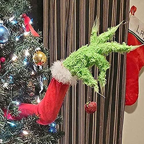Decorazione per Albero di Natale, Gambe e Braccio Elfo Grinch Verde, Bambolo Peluche Imbottito da Parete Finestra Porta, Ornamento Natalizio per Festa Famiglia Bambino (Braccio)