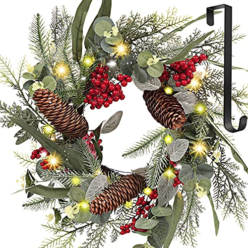 Christmas Wreaths, 22 Inch Door Wreaths with Hanger and LED Light, Red Berries, Pine Cones, Pine Needles and Eucalyptus Leaves, Artificial Christmas Wreaths for Front Door Holiday Festival Wall Décor