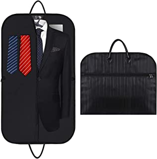 LESIGE Slim Garment Travel Bags with Large Capacity Pocket for Suit Dresses Coats Storage Carry, Extra Thin Waterproof Suits Cover Bags for Men & Women (Black Stripe)