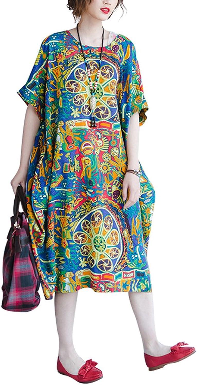 Women's Loose Linen Cotton Blouse Dress Sundress Plus Size Clothing