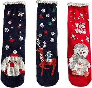 Amosfun, Calcetines de Navidad otoño Invierno Calcetines cálidos Medias de algodón de Navidad Caja para Mujeres niñas 3 Pares (Alces)