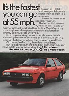 Magazine Print Ad: Red 1984 VW Volkswagen Scirocco, 10,870,