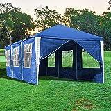wolketon Tendone per Feste Gazebo Impermeabile 3x9m Blu PE Protezione UV Robusto Tenda Giardino per Sagre Eventi Mercati Esterno