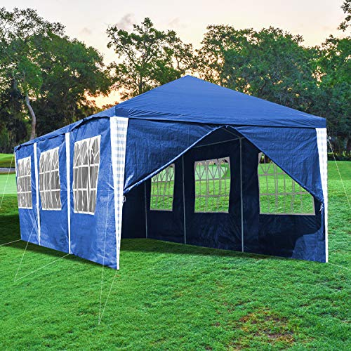 wolketon Pavillon 3x9m Wasserdicht Stabiles Partyzelt Gartenzelt UV-Schutz Festzelt Material PE-Plane Blau mit 8 Seitenteilen für Party Festival Messestände