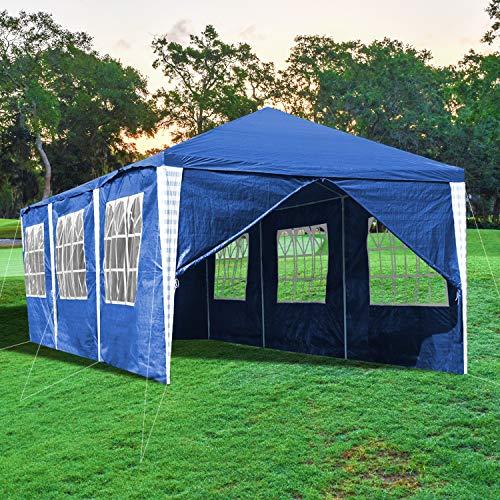 EINFEBEN Pavillons 3x9m Gartenpavillon Wasserdicht Blau UV-Schutz Material PE-Plane Stabiles Partyzelt mit 8 Seitenteilen für Hochzeit Party Garten Markt