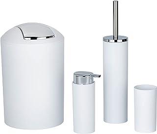Wenko Set Accessoires Salle de Bain Calvo Blanc, Distributeur de Savon Liquide, gobelet Brosse à dent, Brosse WC, Poubelle...
