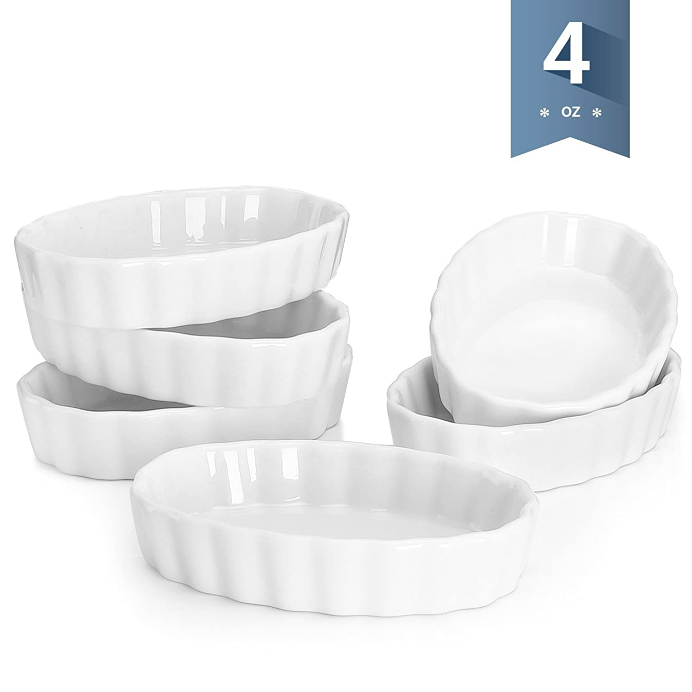Sweese 5101 Porcelain Ramekins Oval Shape - 4 Ounce for Creme Brulee - Set of 6, 4.7 x 3.2 x 1 Inch, White