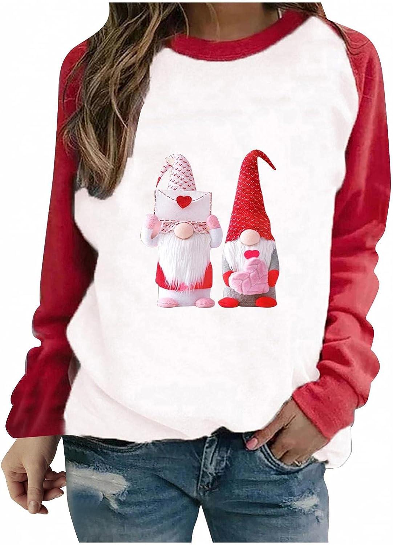 Womens Christmas Crewneck Sweatshirt - Cute Goblin Gnomes Graphic Casual Blouse Loose Fitting Tops Long Sleeve T Shirt
