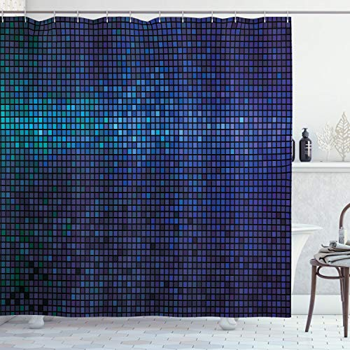 Ambesonne Abstract Shower Curtain by, Disco Backdrop with Gradient Fractal Mosaic Little Squares Print, Fabric Bathroom Decor Set with Hooks, 75 Inches Long, Indigo Navy Blue Teal Purple