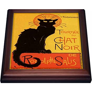Amazon Com 3drose Le Chat Noir Advertising Art Nouveau Black Cat Cat Cats Chat Noir Le Chat Trivet With Ceramic Tile 8 By 8 Brown Kitchen Dining
