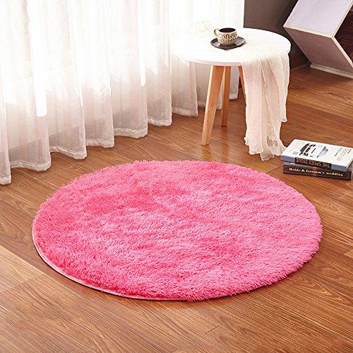 Walmics Tapis rond en peluche, tapis rond moelleux pour bébé, tapis de jeu pour salon, chambre à coucher, tapis de chaise, coussin de yoga, pour chambre d