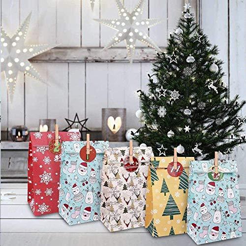 Faraone4w Calendario Dell'avvento, Avvento Calendario Avvento da Riempire, 24 Calendario Avvento con 1-24 Adesivi numerici, 24 Clip e Corda di Canapa, 2020 Sacchettini Regalo Natale