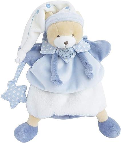 Doudou et Compagnie - Doudou Marionnette à Main Ours - 28 cm - Bleu/Blanc - Ours Petit Chou - DC3081