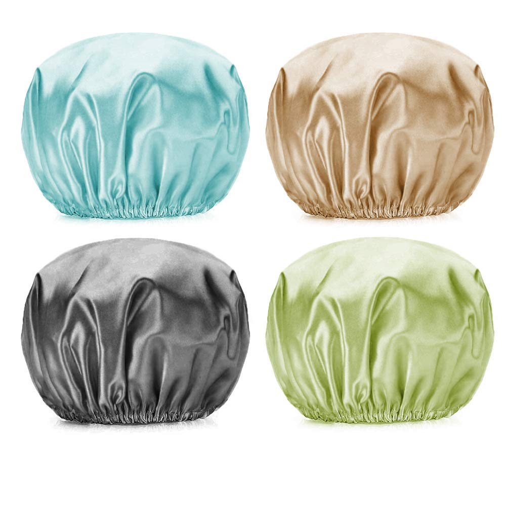 PUSSAER Low price 4Pack Very popular! Shower Cap for Women Hair Long EVA Extra Reusable