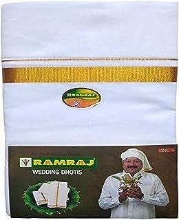 Ramraj Men's Cotton Dhoti (White, Free Size)