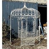 L'Héritier Du Temps Tonnelle Pergola Gloriette en Fer Forgé Blanc Abris Kiosque de Jardin Rond 196x196x314cm